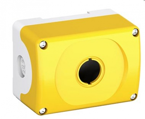 Enclosure Push Button 1 Hole Yellow Plastic