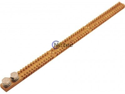 Earthing Bar, 165 Amp, 54 Way, 2x M10 Studs Flat & Spring Washers Included.
