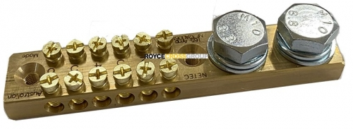Earthing Bar, 165 Amp, 6 Way, 2x M10 Studs Flat & Spring Washers Included.