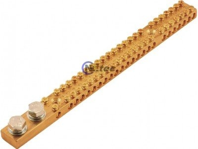 Earthing Bar, 165 Amp, 24 Way, 2x M8 Studs Flat & Spring Washers Included.