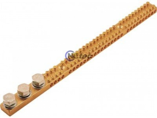 Earthing Bar, 165 Amp, 30 Hole 3x M10 Studs Flat & Spring Washers Included.