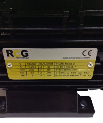 RCG Alloy ML90L 2.2kW 2P TEFC B3 Foot Mount 1 Phase 240/480V IP55 CSCR Electric